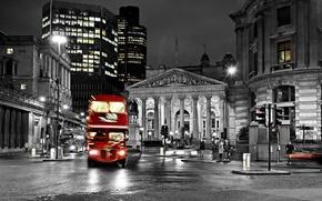 Картинка bus, street, черно-белый, дорога, Англия, Лондон, размытие, city, город, lights, огни, ночь, night, england, blur, ...