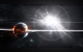 Картинка огонь, планета, взрывы