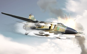 Обои атака, миг-23, ракеты