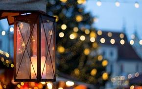 Картинка макро, свет, город, огни, праздник, улица, свеча, фонарь, боке