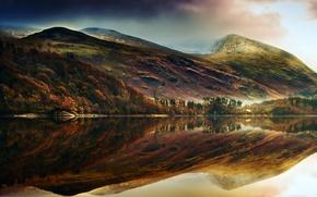 Картинка лес, отражения, горы, природа, озеро, холмы