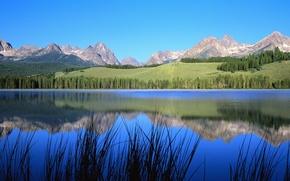 Обои небо, горы, природа, деревья, река, пейзаж