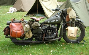 Картинка мировой, Второй, времён, мотоцикл, военный, WLA, палатки, Harley-Davidson, войны