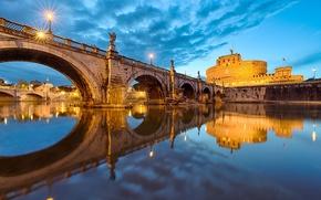 Картинка небо, вода, город, отражение, река, вечер, освещение, Рим, Италия, Italy, Rome, Ватикан, Vatican, St. Angelo ...