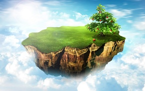 Картинка облака, природа, яблоня, островок