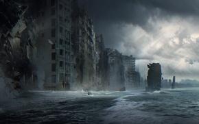Картинка море, волны, город, фантастика, дома, разрушение, забвение