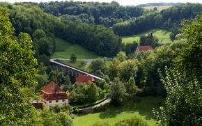 Картинка мост, вид сверху, дома, дорога, Германия, Rothenburg, трава, деревья, речка, зелень, Бавария, лес
