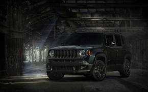 Картинка свет, сарай, Jeep, Renegade