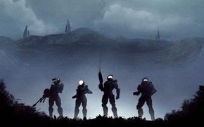 Картинка ночь, солдаты, kelly, halo, spartan, linda, master chief, Halo 5: Guardians, blue team, guardians, Kelly-087, …