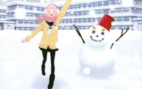 Картинка девушка, шарф, снеговик, vocaloid, вокалоид, luka, just Be Friends