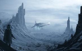 Картинка снег, горы, фантастика, человек, корабль, арт, башни