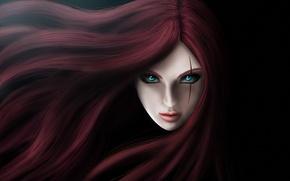Картинка глаза, девушка, лицо, волосы, арт, шрам, Katarina, League of legends, The Sinister Blade