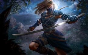 Картинка взгляд, листья, девушка, деревья, оружие, фантастика, маска, арт