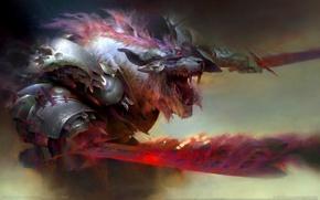Картинка монстр, рога, броня, мечи, game wallpapers, Guild Wars 2: Heart of Thorns