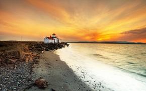 Картинка маяк, море, берег, закат