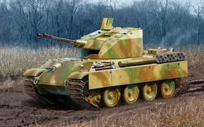 Картинка дорога, арт, прототип, установки, WW2, ЗСУ, немецкой, самоходной, Келиан, зенитной, Flakpanzer V Coelian