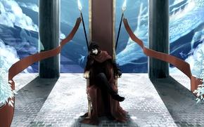 Картинка рыбы, дракон, мантия, колонны, перчатки, Парень, трон, копья