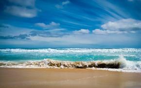Картинка песок, море, волны, пена, вода, океан, пейзажи, волна
