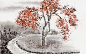 Картинка поле, мост, река, дерево, ветви, Япония, Живопись, берега