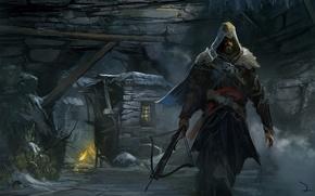Картинка дом, камни, оружие, человек, костер, арт, капюшон, пещера, Assassin's Creed, Revelations, арбалет