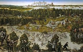 Картинка деревья, пейзаж, река, картина, Охота в Честь Фердинанда I близ Замка Торгау, Лукас Кранах Старший