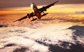 Картинка небо, облака, полет, самолет, высота, горизонт, зарево, взлет, в воздухе, пассажирский, в небеса