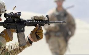 Картинка USA, soldier, weapon, shot