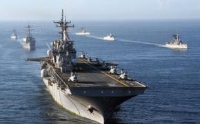 Картинка океан, вертолеты, палуба, Эссекс, универсальный, LHD-2, USS Essex, десантный корабль