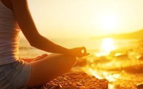 Картинка пляж, Девушка, медитация