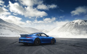 Картинка 911, Porsche, Blue, Mountain, GTS, Supercar, Rear