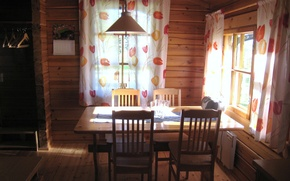 Картинка room, interior, table, chairs, country home