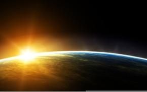 Обои орбита, солнце, планета, космос, Земля