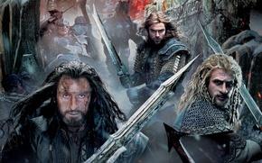 Картинка меч, фэнтези, гномы, постер, орки, кольчуга, Richard Armitage, Thorin, Fili, Kili, The Hobbit: The Battle …