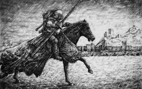 Картинка конь, рисунок, графика, воин, всадник, копье, крепость, средневековье, Рыцарь, Судак, турнир, Parsadanov