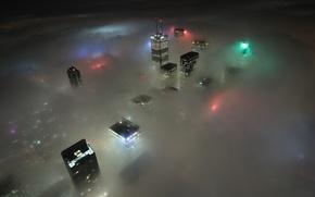 Картинка облака, свет, ночь, city, небоскребы, light, канада, торонто, night, canada, toronto