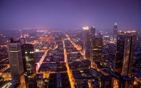 Обои ночь, город, огни, вид, здания, дома, небоскребы, вечер, Германия, панорама, Germany, высотки, Франкфурт-на-Майне, Deutschland, Frankfurt ...