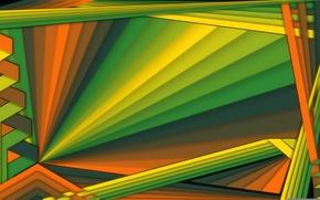 Картинка лучи, линии, цвет, объем, слой