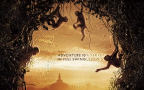 Картинка city, monkey, forest, sky, jungle, tree, animal, building, dome, vegetation, official wallpaper, vine, Disney Nature, …