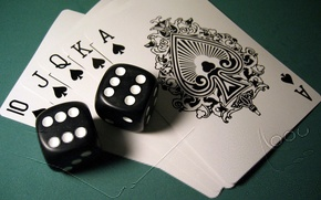 Обои Карты, Покер, Кости, Комбинация, Дубль, Пики, Роял-флэш, Poker