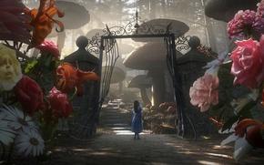 Обои Цветы, Ворота, Алиса в Стране чудес, Тим Бёртон