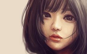 Картинка взгляд, лицо, ресницы, волосы, портрет, art, Craelle