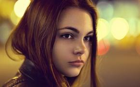 Картинка взгляд, девушка, лицо, блики, портрет, light, рыжая, боке, кареглазая, Октябрина Максимова, Андрей Жуков