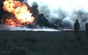 Обои солдаты, дым, Огонь, Ирак