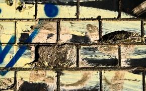 Картинка dirt, bricks, spray paint, different colors, wwall