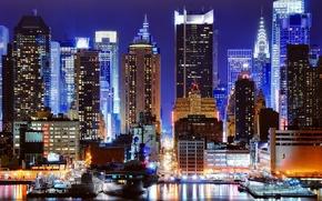 Обои ночь, огни, нью-йорк, night, new york, times square, manhattan, nyc, 45th street