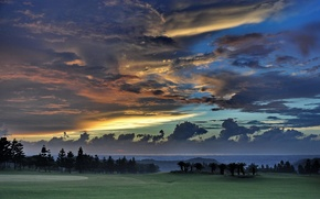 Обои небо, облака, деревья, закат, тайвань