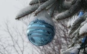 Картинка снег, игрушка, елка, новый год, шар, рождество, украшение