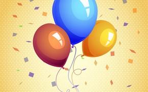 Картинка шарики, желтый, фон, конфетти