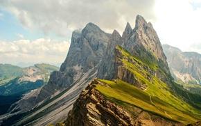 Картинка горы, природа, высота, панорама, облака. вид