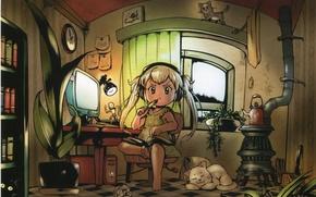 Картинка компьютер, кошки, стол, комната, часы, книги, лампа, растения, окно, девочка, печка, шкаф, белые волосы, art …